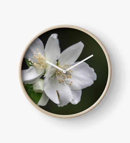 White Spring Flowers Clock