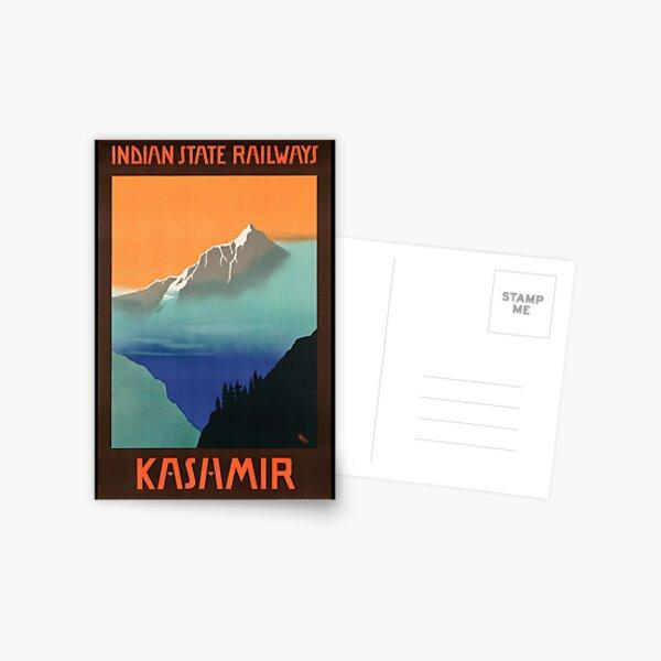 Vintage Kashmir India Travel Poster  Postcard