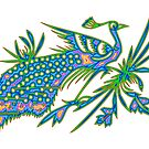 Rainbow Multicolored Peacock on a Branch by Artist4God