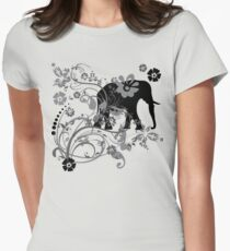 Beautiful Black Floral Elephant Swirls T-Shirt