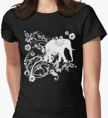 Beautiful White Floral Elephant Swirls T-Shirt