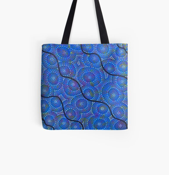 blue river and ocean All Over Print Tote Bag