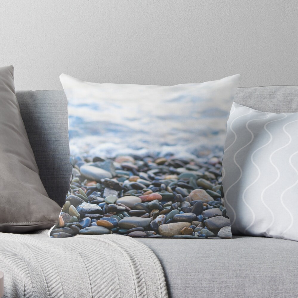 Pebbles on the Beach Throw Pillow