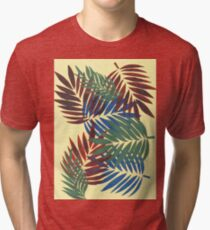 Red, Blue and Green Palm Leaves Tri-blend T-Shirt