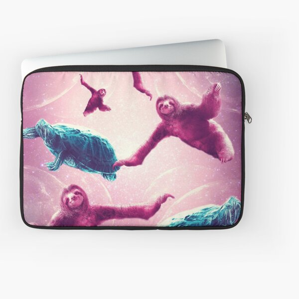 Crazy Funny Space Sloth With Turtle  Laptop Sleeve