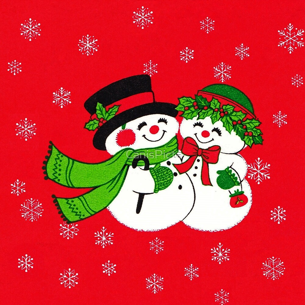 snowmance vintage inspired snowman snow lady woman couple christmas holiday cute mistletoe holly berries frozen freeze ice snowflakes snow white red green