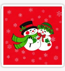 """""""SnowMance"""" Vintage Inspired Snowman Snow Lady Woman Couple Christmas Holiday Cute Mistletoe Holly Berries Frozen Freeze Ice Snowflakes Snow White Red Green Merry Happy Retro Love Romance Couple Sticker"""
