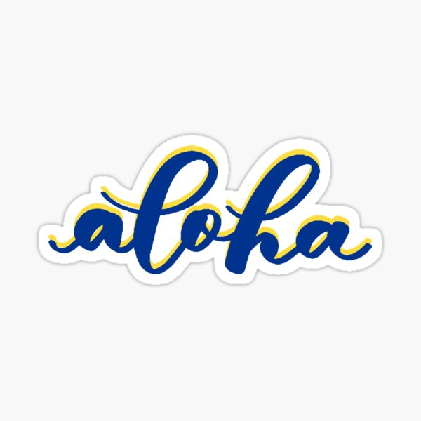 Aloha from Hawaii in Blue Yellow Brush Lettering Sticker