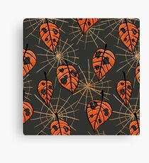 Orange Leaves With Holes And Spiderwebs Canvas Print