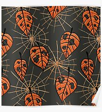Orange Leaves With Holes And Spiderwebs Poster