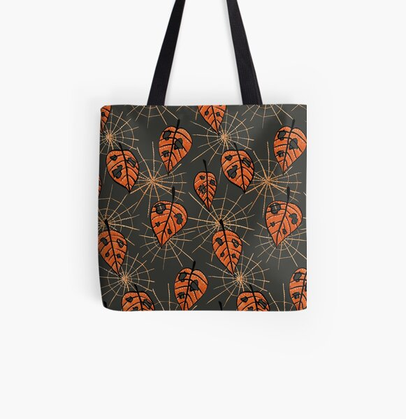 Orange Leaves With Holes And Spiderwebs All Over Print Tote Bag