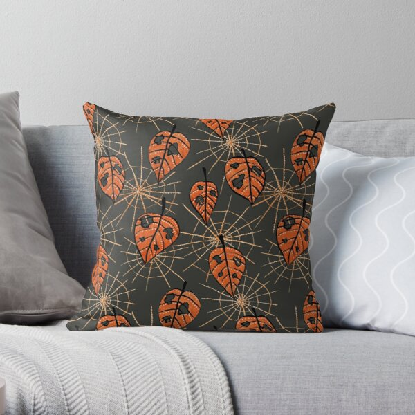Orange Leaves With Holes And Spiderwebs Throw Pillow