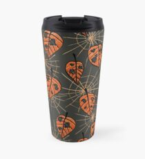 Orange Leaves With Holes And Spiderwebs Travel Mug