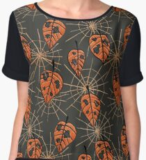 Orange Leaves With Holes And Spiderwebs Women's Chiffon Top