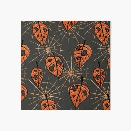 Orange Leaves With Holes And Spiderwebs Art Board Print