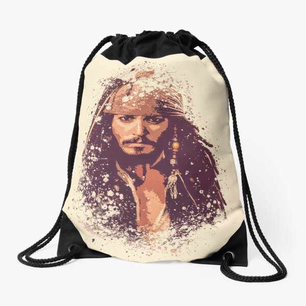 Pirates of the Caribbean, Jack Sparrow splatter Drawstring Bag
