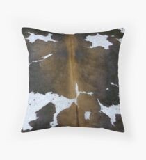 Cowhide  Patchwork Tan and White | Texture  Throw Pillow
