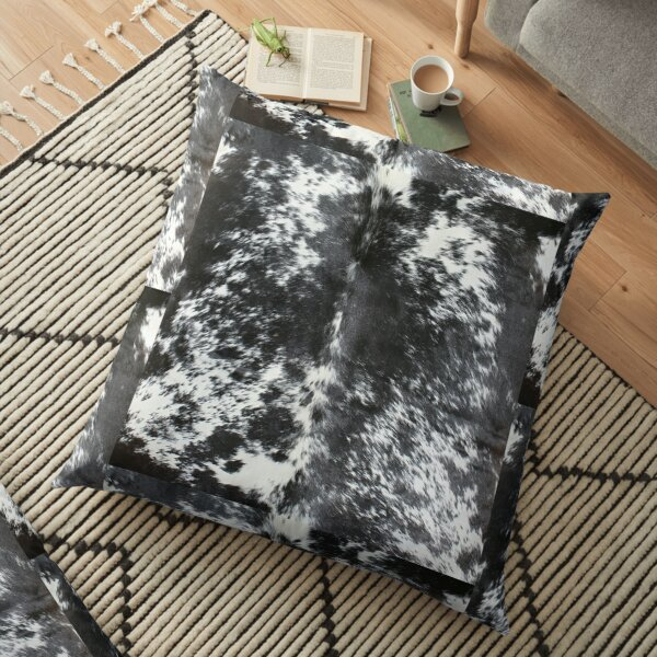 Cowhide Black and White   Texture Floor Pillow
