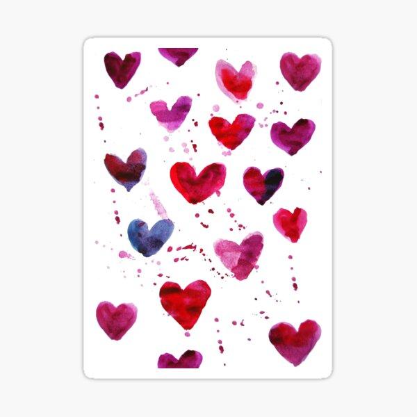 Hearts in Watercolour Sticker