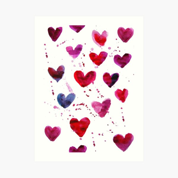 Hearts in Watercolour Art Print
