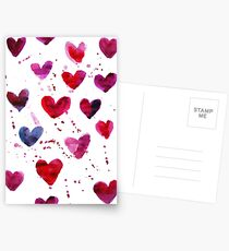Herzen in Aquarell Postkarten