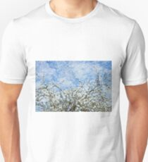 Spring white flowers and blue sky T-Shirt