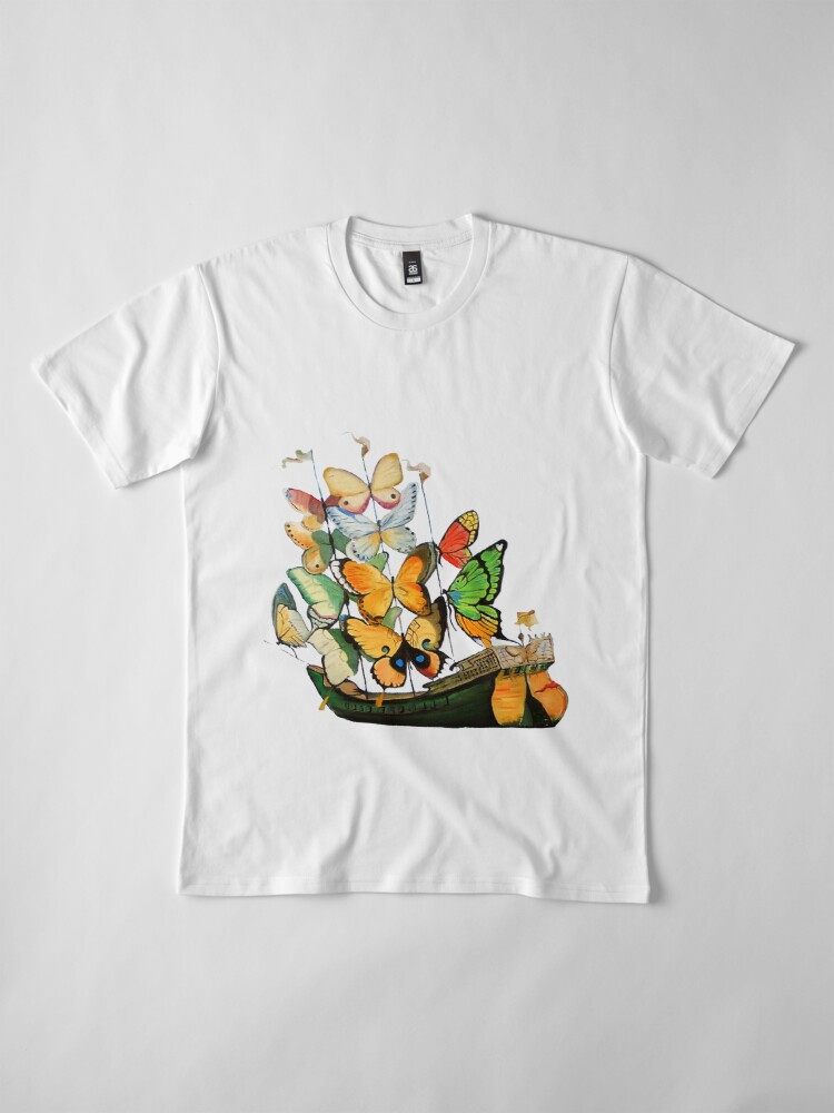 Alternate view of Salvador Dali Ship with Butterfly Sails Premium T-Shirt