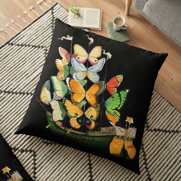 Salvador Dali Ship with Butterfly Sails Floor Pillow