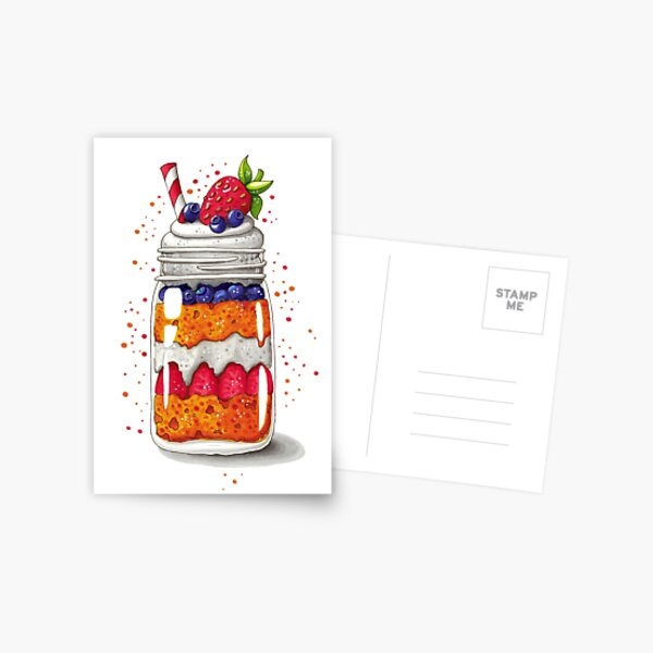 Strawberry and Blueberry shortcake in a jar Postcard