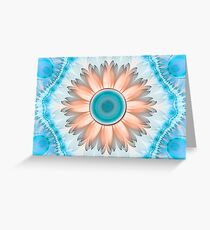 Clean and Pure Turquoise and White Fractal Flower Greeting Card