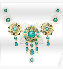 Jewelry with Turquoise Beads Poster