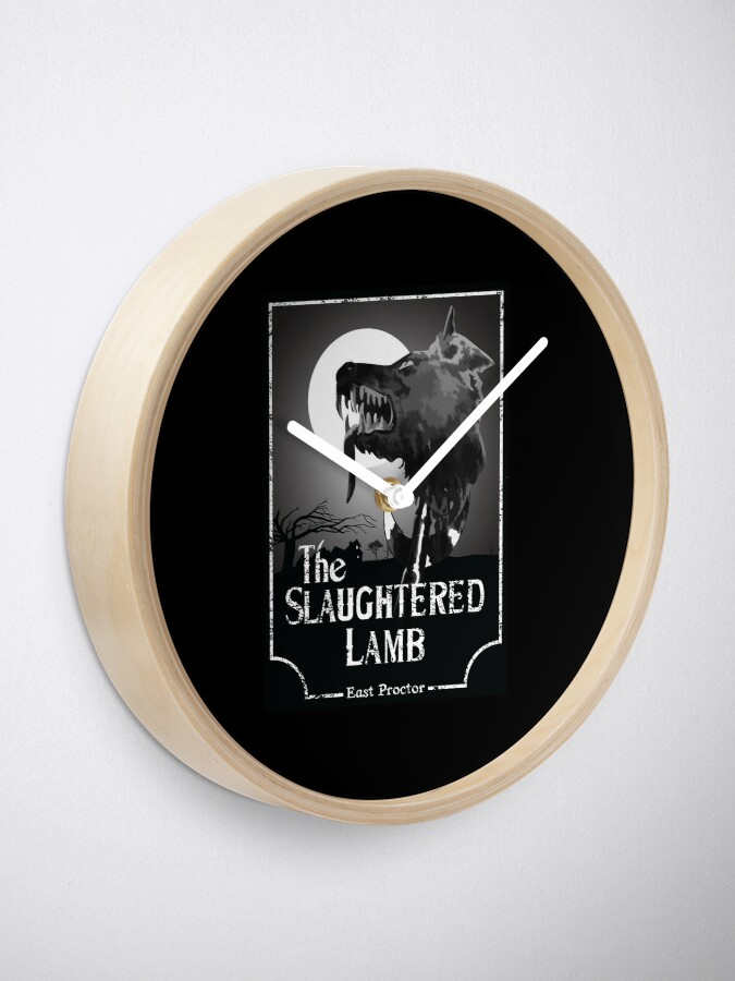 Alternate view of American Werewolf In London - The Slaughtered Lamb B&W Clock