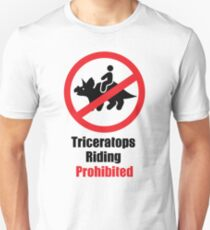 Triceratops Riding Prohibited T-Shirt