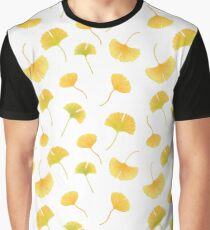 yellow autumn falling ginkgo leaves Graphic T-Shirt
