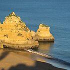 Gold and Blue - Long Shadows on Dona Ana Beach in Lagos Algarve by Georgia Mizuleva