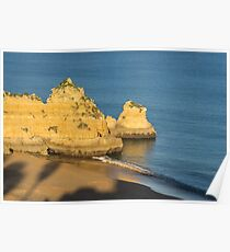 Gold and Blue - Long Shadows on Dona Ana Beach in Lagos Algarve Poster
