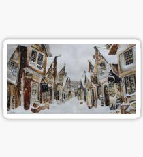 Snowy village scene Sticker