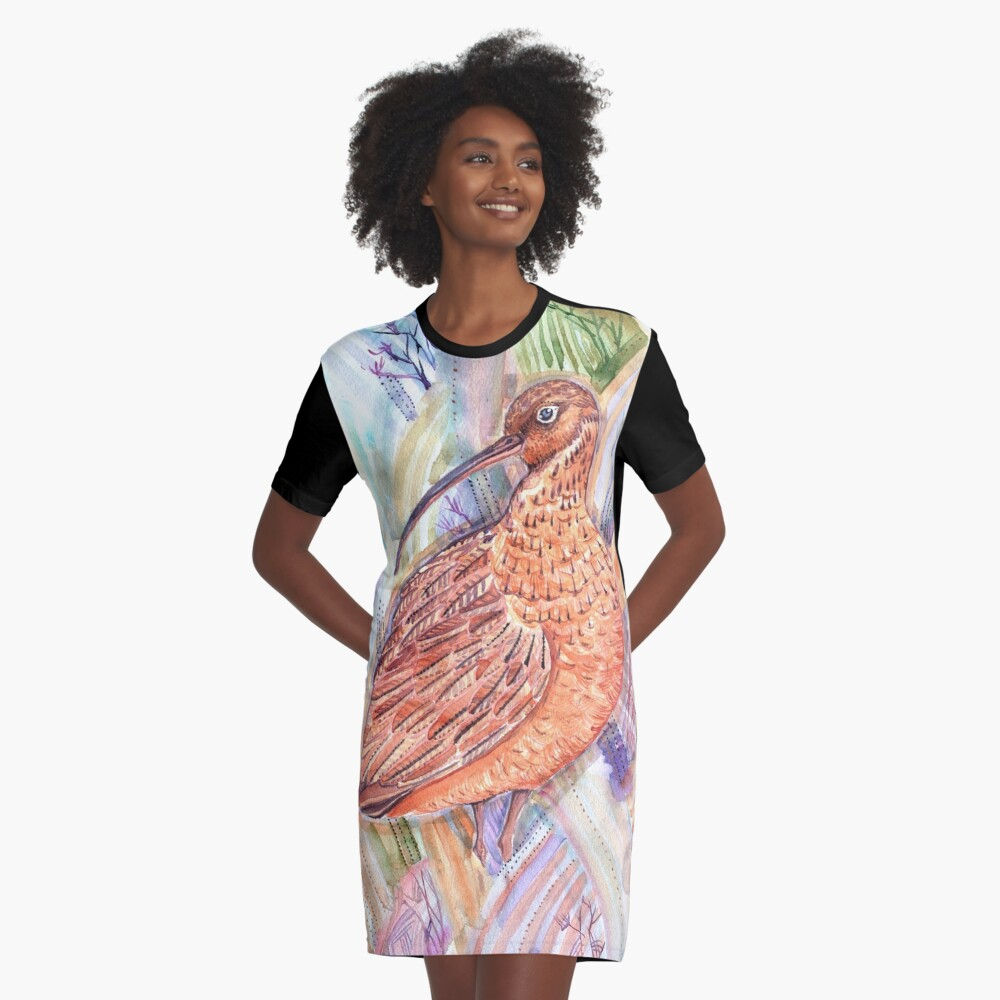 The Hidden Curlew Graphic T-Shirt Dress Front