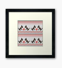 Knitted New Year 2018 retro pattern with dogs Framed Print