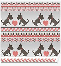 Knitted New Year 2018 retro pattern with dogs Poster