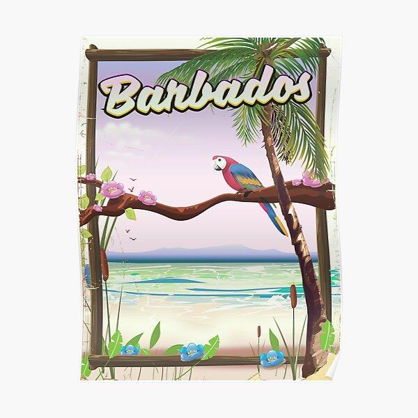Barbados Parrot Landscape travel poster  Poster
