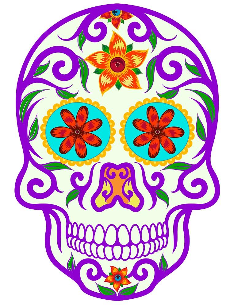 Day Of The Dead Bright Colors Sugar Skull Dia De Los Muertos