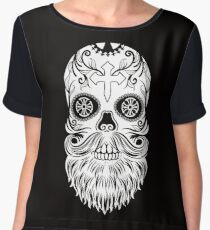 Day of the Dead White Bearded Sugar Skull with Cross Dia de los Muertos Women's Chiffon Top