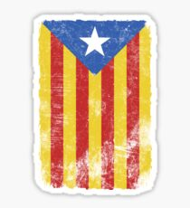 Estelada Flag - Distressed Catalan Independence Sticker