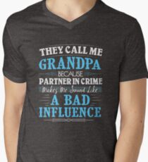 They Call Me Grandpa Because Partner In Crime Funny Men's V-Neck T-Shirt