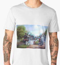 Early railway painting. Men's Premium T-Shirt