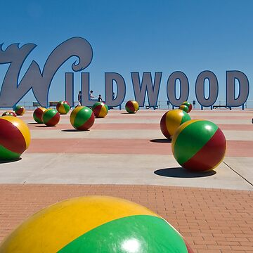 Wildwoods Sign on the Boardwalk in Wildwood New Jesery - Horizontal by aladdincolor