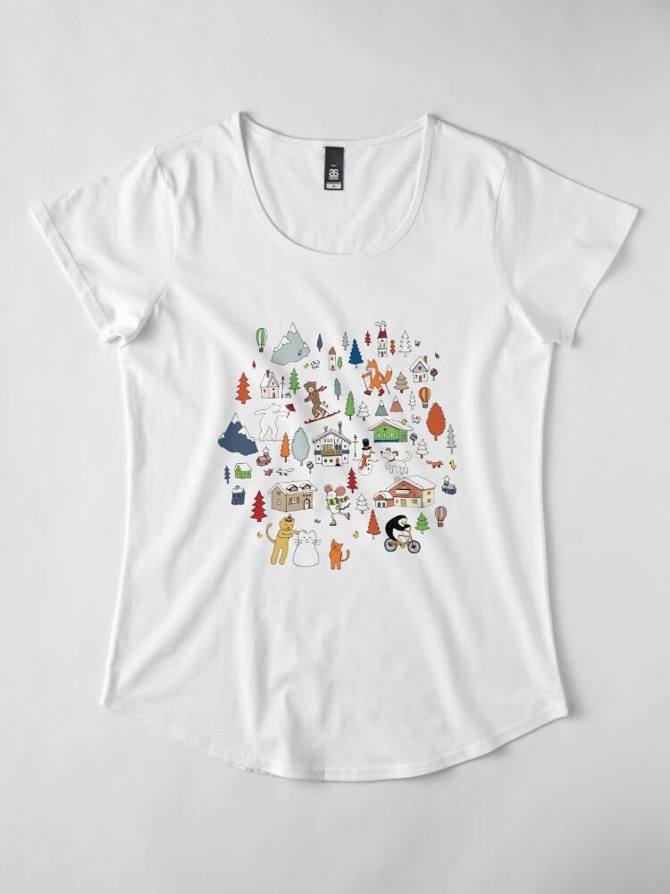 Alternate view of Alpine Animal Antics - on Taupe - Cute Winter pattern by Cecca Designs Premium Scoop T-Shirt