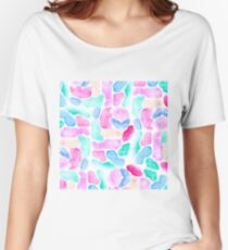 Modern hand painted watercolor pastel brushstrokes color block pattern Women's Relaxed Fit T-Shirt