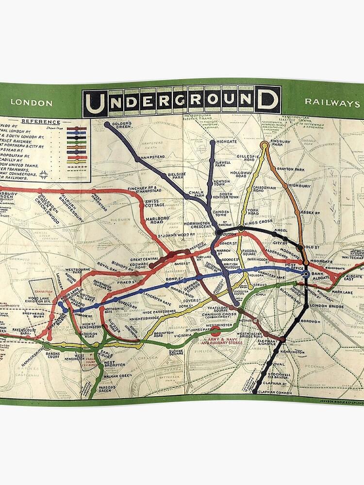 Map Of England Underground.Tube Underground Map 1908 London Historic Uk Gb England On White Poster